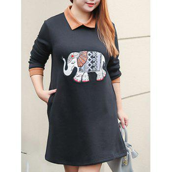 Plus Size Elephant Beaded A Line Dress With Pocket
