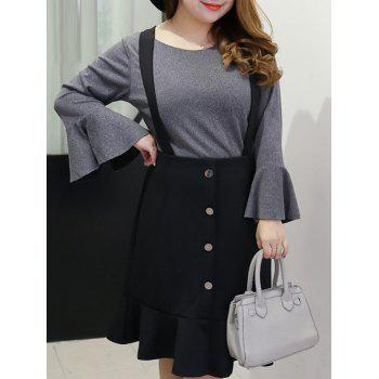 Plus Size Bell Sleeve Blouse and Suspenders Skirt Suit