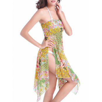 Flower Print Convertible Cover Up Dress - COLORMIX S