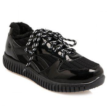 Tie Up Splicing Patent Leather Athletic Shoes
