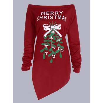 Merry Christmas Print Asymmetrical T-Shirt