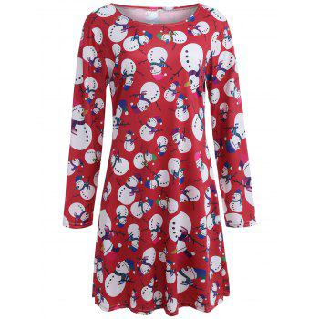Snowman Patterned Christmas A Line Dress