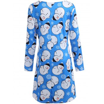 Snowman Graphic Long Sleeve Xmas Swing Dress - AZURE M