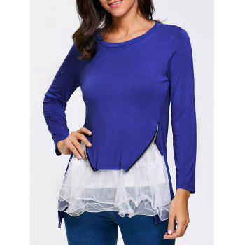 Double Zipper Colour Block Mesh Insert Long T-Shirt