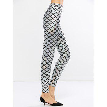 Fish Scale Faux Leather Mermaid Leggings - ONE SIZE ONE SIZE