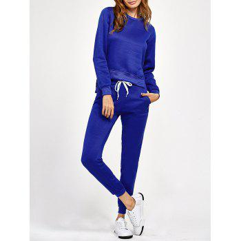 Side Slit High Low Sweatshirt and Pants - BLUE XL
