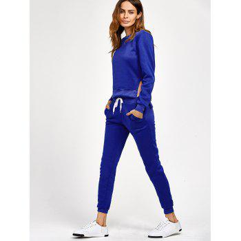 Side Slit High Low Sweatshirt and Pants - S S