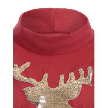 Cute Long Sleeve Christmas High Neck Elk Sequin T-Shirt - RED RED
