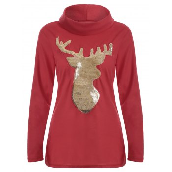 Cute Long Sleeve Christmas High Neck Elk Sequin T-Shirt - RED L
