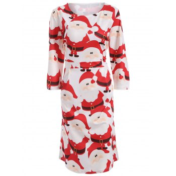 Plus Size Christmas High Waist Dress - RED RED