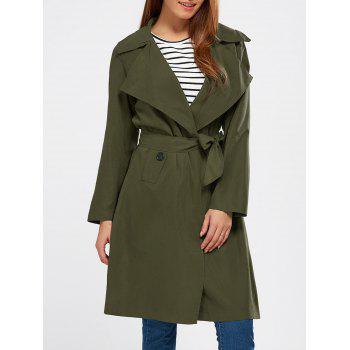Buy Lapel Wrap Back Slit Trench Coat ARMY GREEN