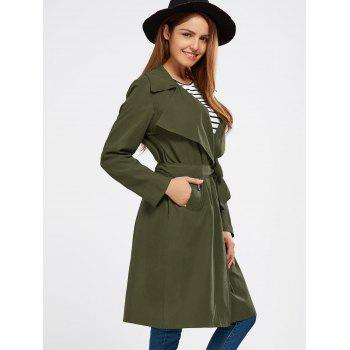 Lapel Wrap Back Slit Long Trench Coat - ARMY GREEN ARMY GREEN