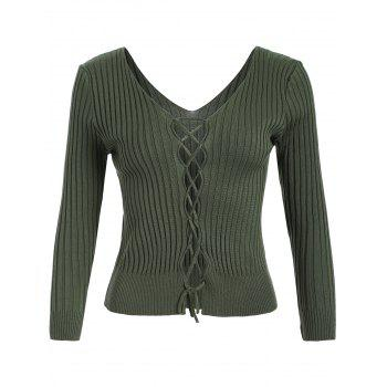 V Neck Lace Up Ribbed Jumper - GREEN GREEN