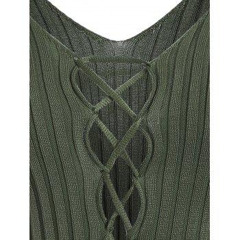 V Neck Lace Up Ribbed Jumper - ONE SIZE ONE SIZE