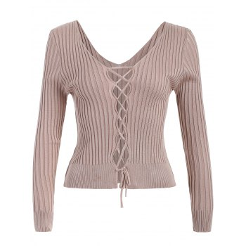 V Neck Lace Up Ribbed Jumper - APRICOT ONE SIZE
