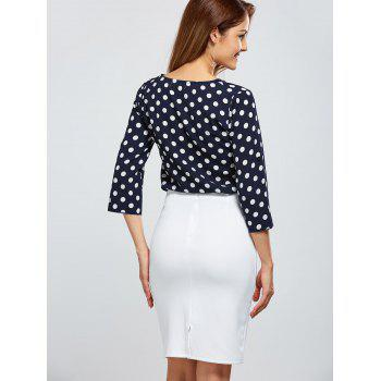 Polka Dot Half Zip T-Shirt - PURPLISH BLUE PURPLISH BLUE
