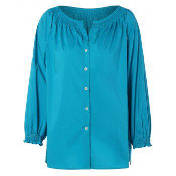 Single Breast Raglan Sleeve Blouse - TURQUOISE M