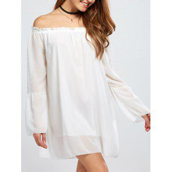 Chiffon Off The Shoulder Bell Sleeve Blouse