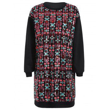 Sequined Embroidered Long Sleeve Dress