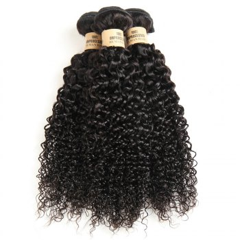 1 Pc/Lot Kinky Curly 5A Remy Brazilian Hair Weave - BLACK 16INCH
