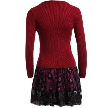Feather Pattern Fuzzy Layered Sweater Skater Dress - ONE SIZE ONE SIZE