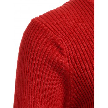 Mesh Spliced Slim Fit Knitted Dress - RED ONE SIZE