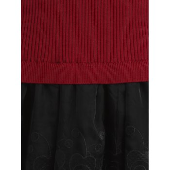 Mesh Spliced Slim Fit Knitted Dress - ONE SIZE ONE SIZE