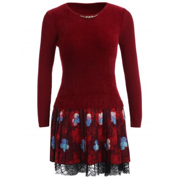 Floral Lace Trim Fuzzy Sweater  Dress