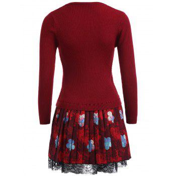 Floral Lace Trim Fuzzy Sweater  Dress - WINE RED WINE RED