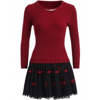 Lace Spliced Pleated Skater Sweater Dress - DEEP RED ONE SIZE