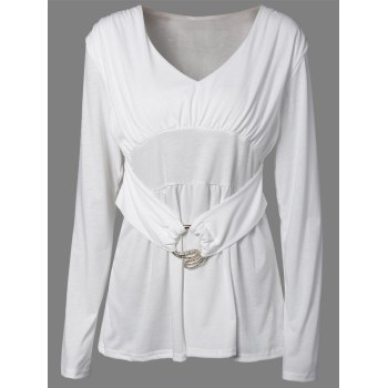 Rhinestone Buckle Ruched Tunic T-Shirt - WHITE XL