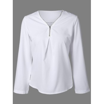 V Neck Zipper Long Sleeve Blouse - WHITE S