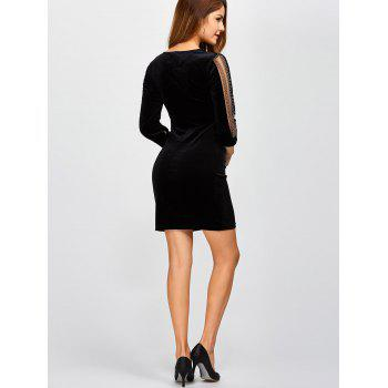 V Neck Rhinestone Chain Velvet Bodycon Dress - BLACK BLACK