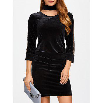 V Neck Rhinestone Chain Velvet Bodycon Dress