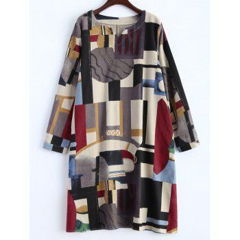 Geometry Patchwork Print Casual Dress - OFF-WHITE M