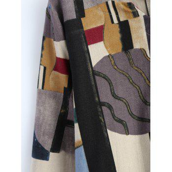 Geometry Patchwork Print Casual Dress - OFF WHITE OFF WHITE