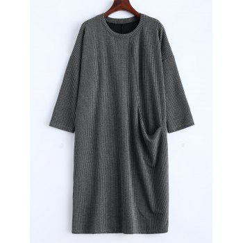 Drop Shoulder Ribbed Jumper Dress with Pockets