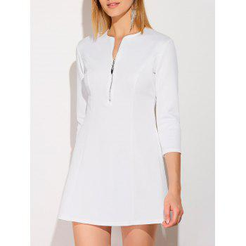 Half Zip Plunging Mini Dress