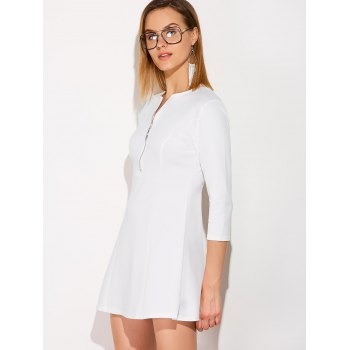 Half Zip Plunging Mini Dress - XL XL