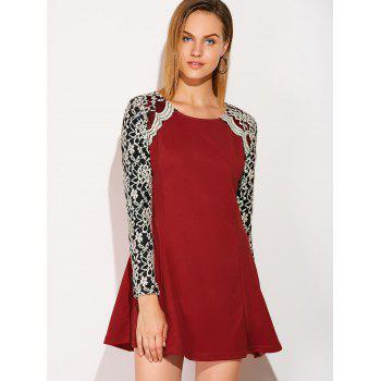 Long Sleeve Lace Insert Mini Skater Dress - WINE RED XL