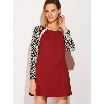 Long Sleeve Lace Insert Mini Skater Dress - WINE RED WINE RED