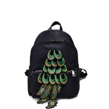 Nylon Peacock Feather Appliques Backpack