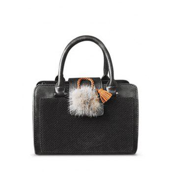PU Leather Pompon Suede Panel Handbag