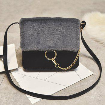Plush Insert Chains Crossbody Bag