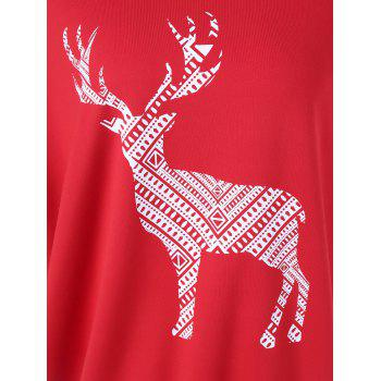 Fawn Print Skew Collar Pullover Sweatshirt - RED S