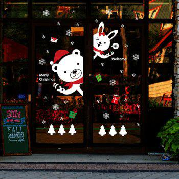 Merry Christmas DIY Bear Rabbit Removable Wall Stickers