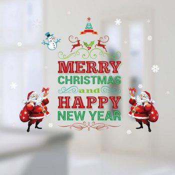 Santa Claus Removable DIY Merry Christmas Wall Stickers - RED/GREEN