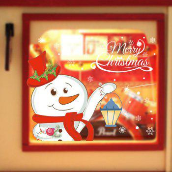 Removable Christmas DIY Snowman Pattern Wall Stickers - WHITE