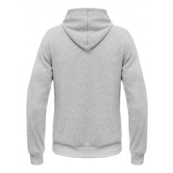 Oblique Stripe Hooded Elephant Print Flocking Hoodie - GRAY L