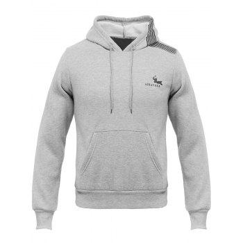 Oblique Stripe Hooded Elephant Print Flocking Hoodie